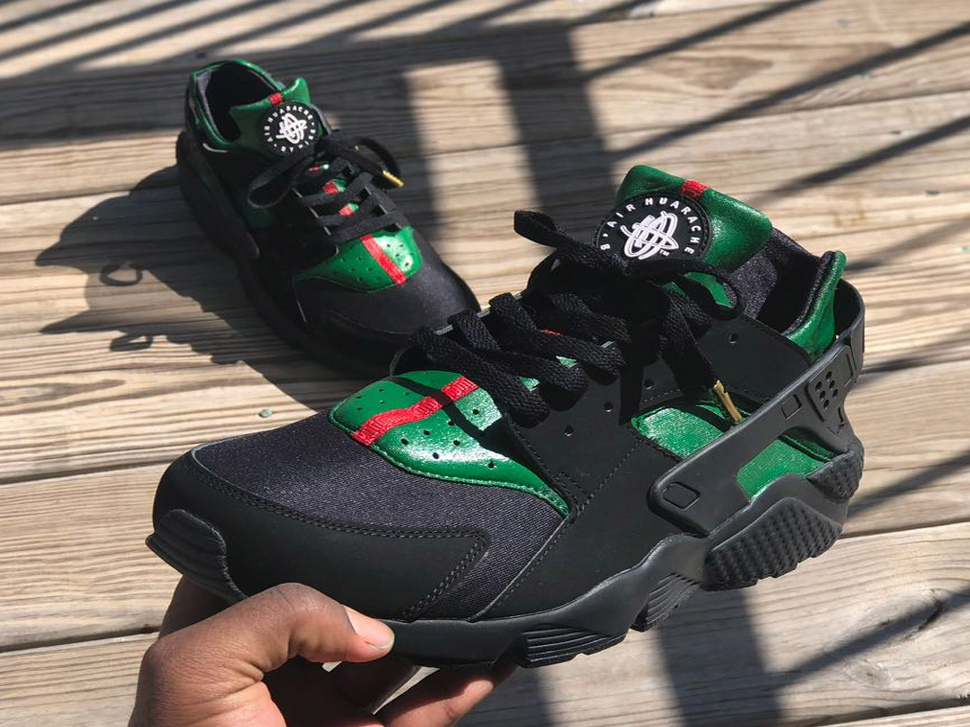 check out 25e09 60a83 Custom Gucci Nike Huaraches