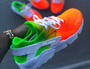 Custom Orange and Green Nike Huaraches - Kiaun's Customs
