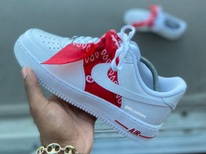 Custom Red Bandana Air Force 1s - Kiaun's Customs