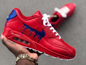 Custom Red, Blue and White drip Nike Air Max 90 - Kiaun's Customs
