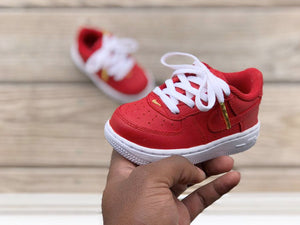 Custom Red and White Nike Af1s - Kiaun's Customs