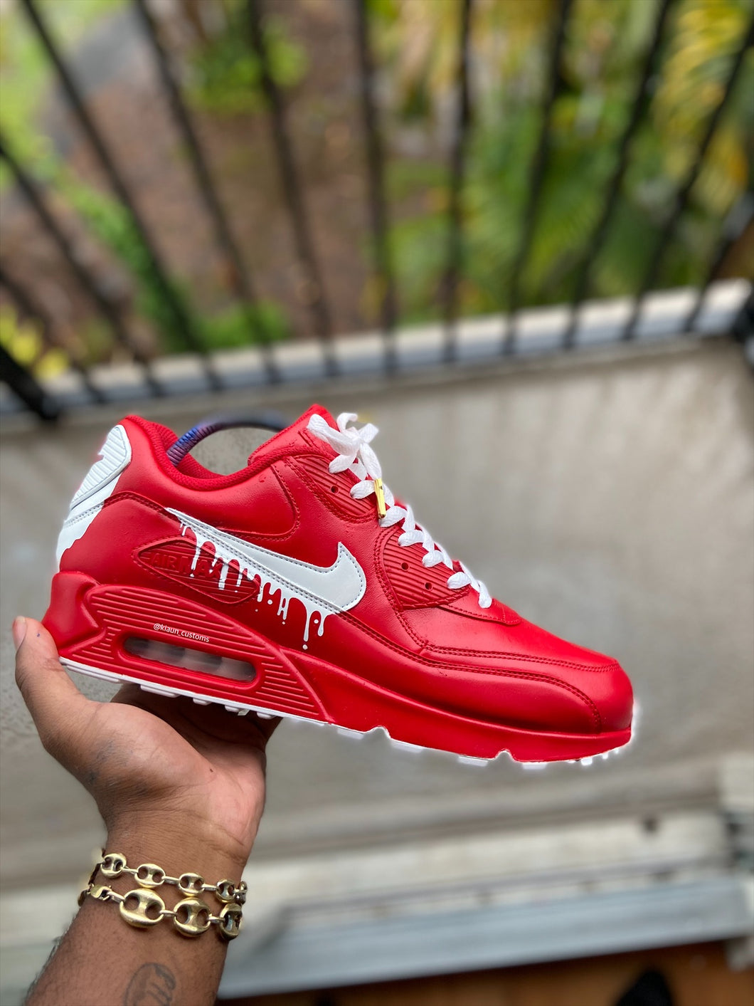 Custom Red and White Drip Airmax 90. - Kiaun's Customs
