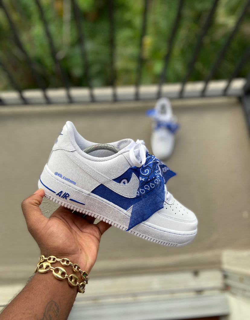 Custom Blue Bandana Air Force 1s - Kiaun's Customs