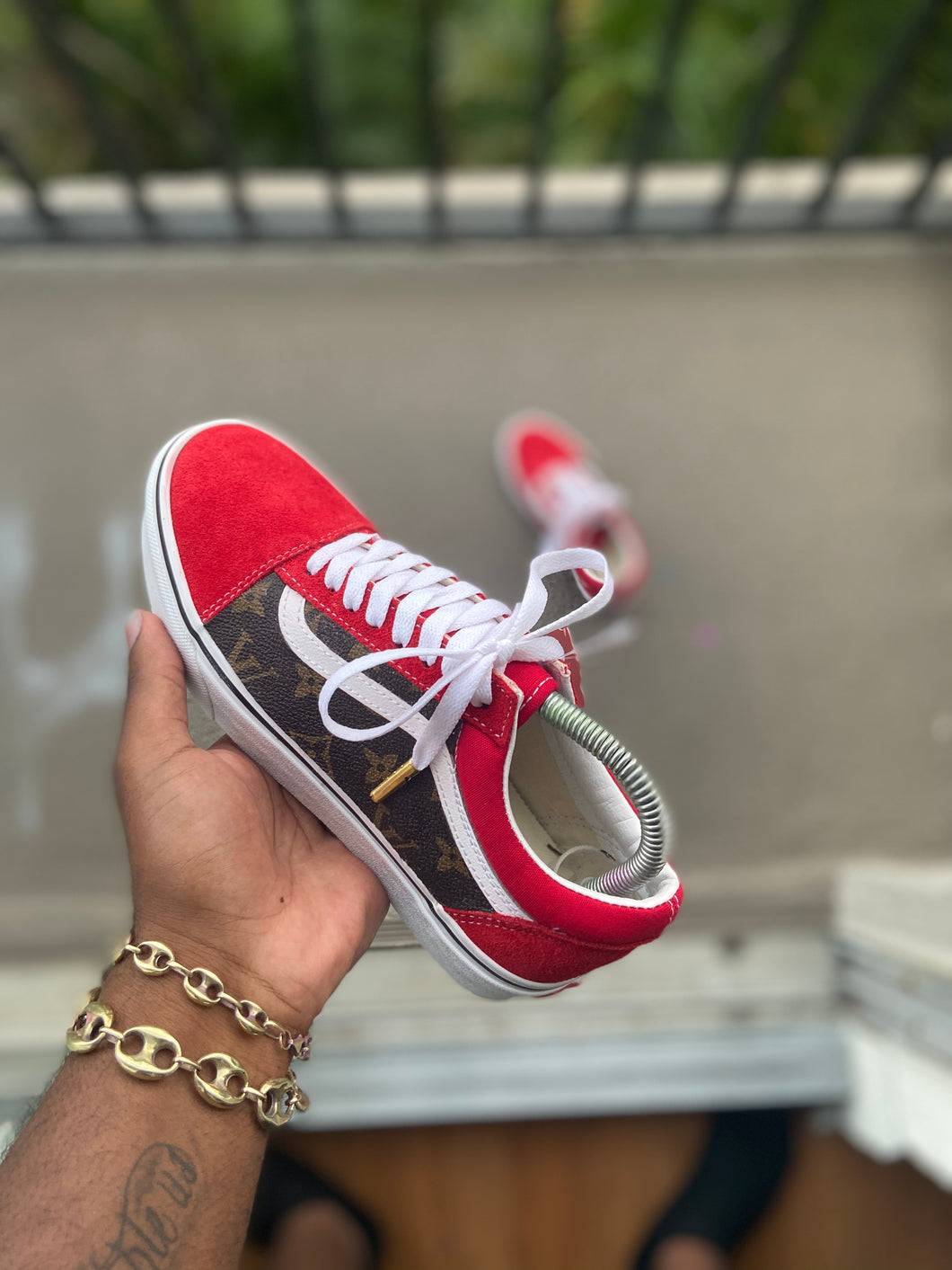 Custom Red LV Vans - Kiaun's Customs