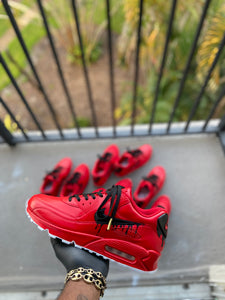 Custom Red and Black Drip Airmax 90 - Kiaun's Customs