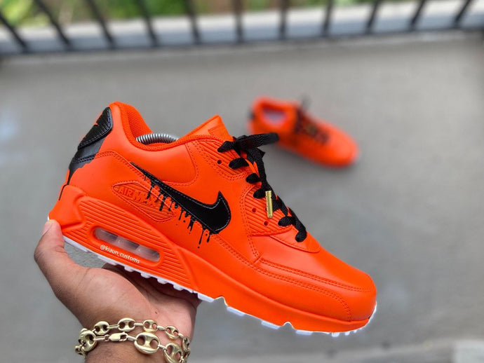 Custom Orange Drip Airmax 90 - Kiaun's Customs