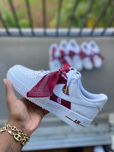 Custom Burgundy Bandana Air Force 1s - Kiaun's Customs