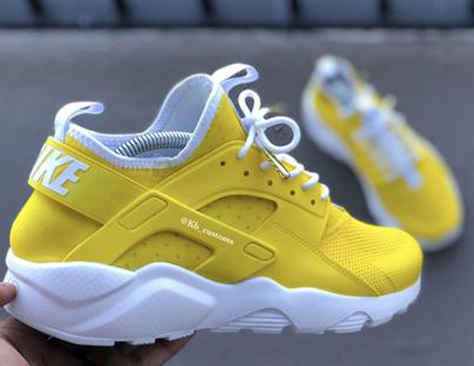 Custom Yellow and White Nike Ultra Huaraches
