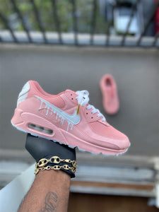 Custom Pink and White Drip Airmax 90 - Kiaun's Customs