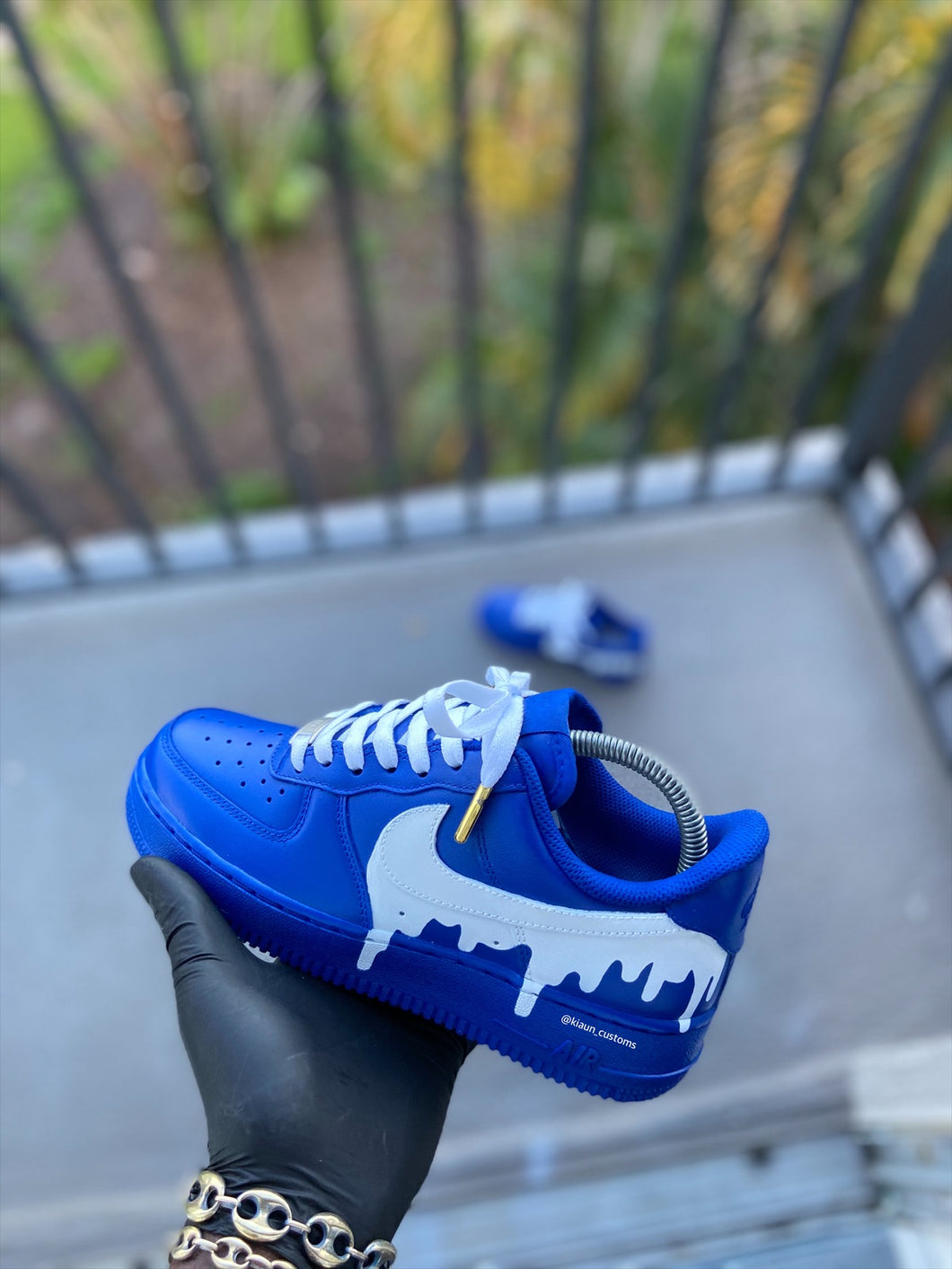 Custom Blue and White Drip AF1s - Kiaun's Customs