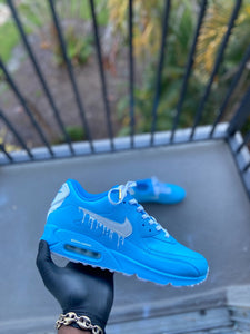 Custom Baby Blue and white Drip Airmax 90 - Kiaun's Customs