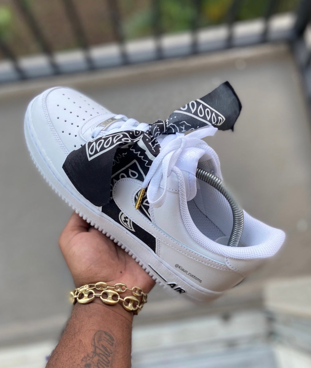 Custom Black Bandana Air Force 1s - Kiaun's Customs