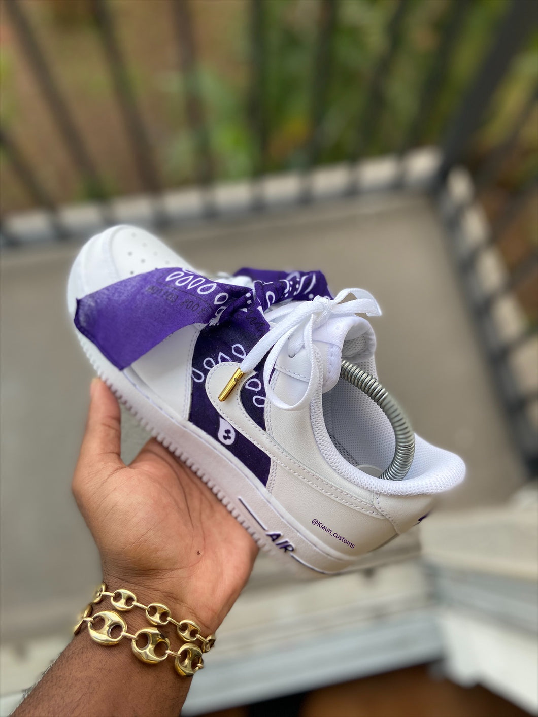 Custom Purple Bandana Air Force 1s - Kiaun's Customs