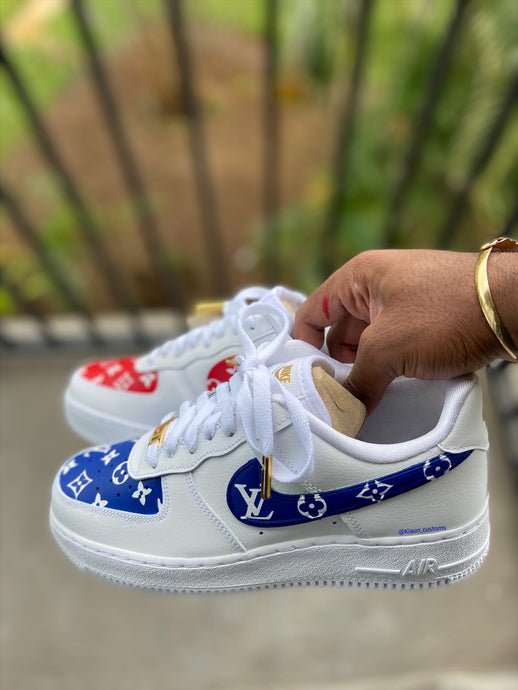 Custom Blue and Red LV Air force 1s - Kiaun's Customs