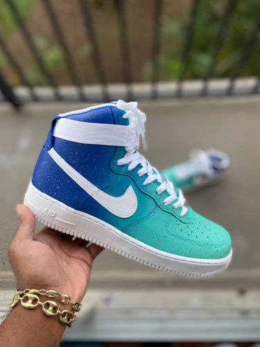 Custom turquoise  High Top Air Force 1s - Kiaun's Customs