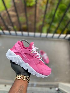 Custom Pink and White Nike Huaraches - Kiaun's Customs