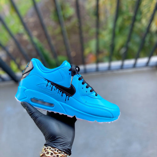 Custom Baby Blue Drip Airmax 90 - Kiaun's Customs