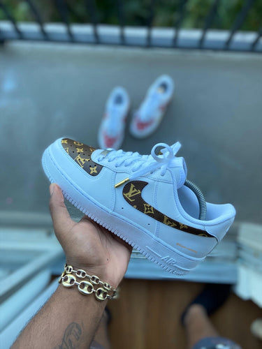 Custom Brown and Gold lv AF1s - Kiaun's Customs