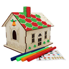 Load image into Gallery viewer, Wooden Christmas DIY Money Box House