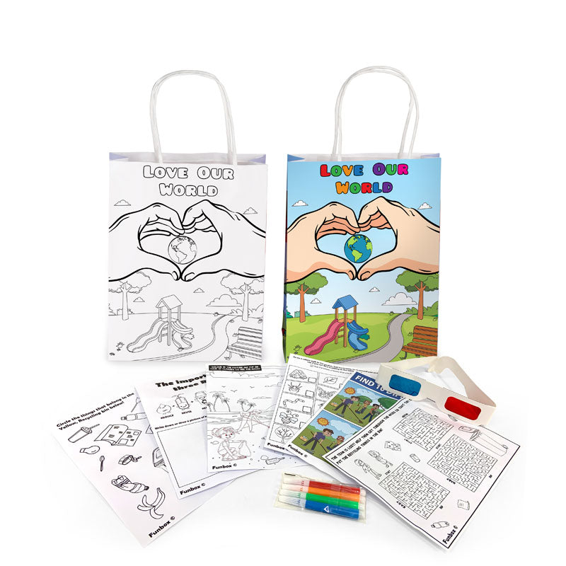 Sustainability Activity Bag with 3D glasses and washable markers- Love Our World