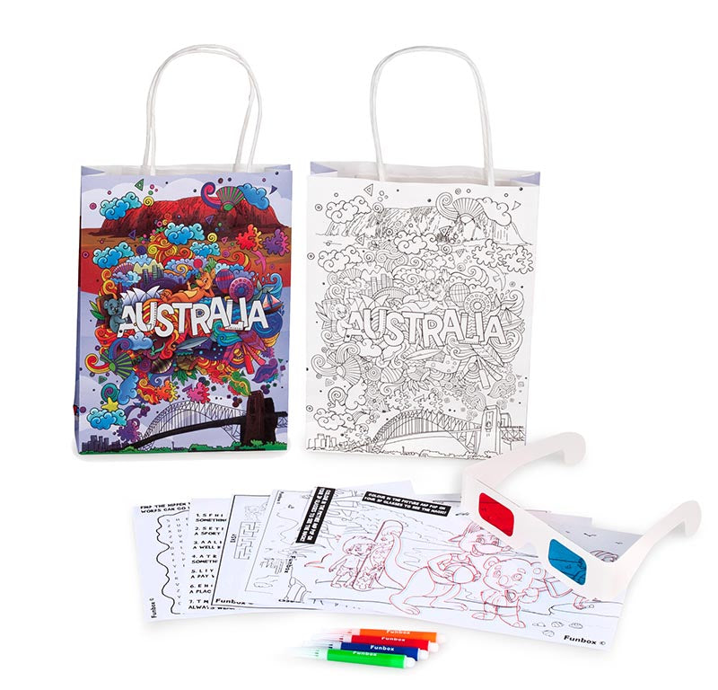 Australia Activity Bag with Activity Sheets, Markers and 3D Glasses
