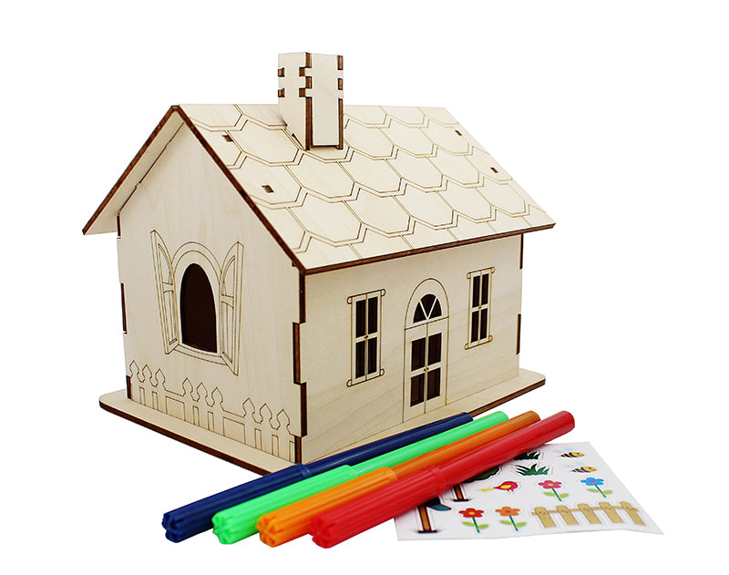 Wooden DIY Money Box House