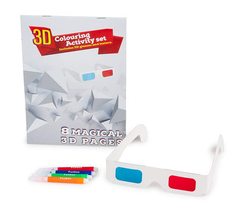 3D Activity Book with 8 3D Pages, Texters and 3D glasses