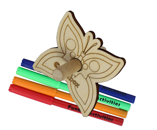 Wooden Butterfly Spinning Top