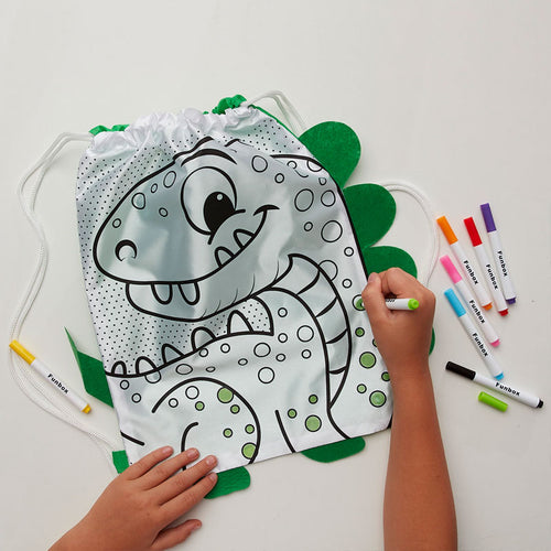Dinosaur Draw String Bag - With Markers