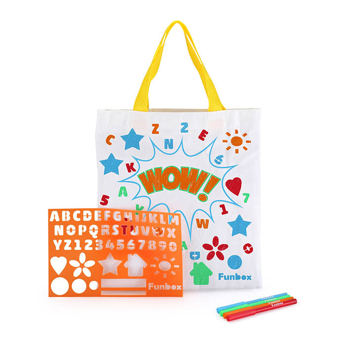Large Colour in Tote Bag - with Stencil and Markers