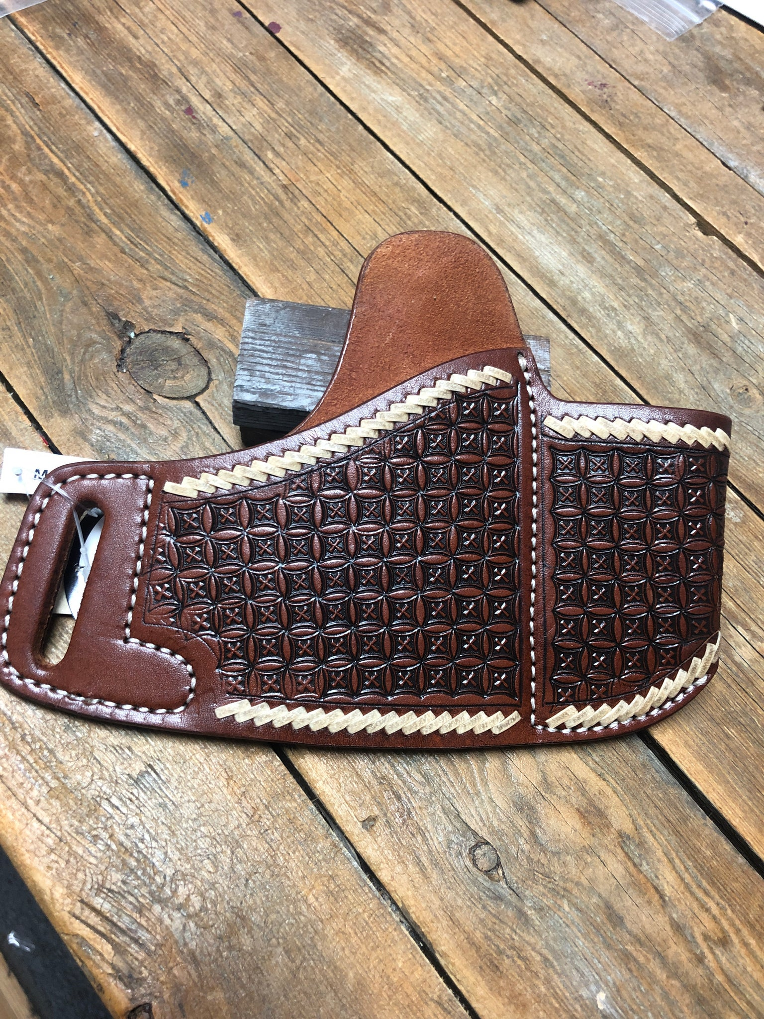 Leather X Trimmed Belt Gun Holster