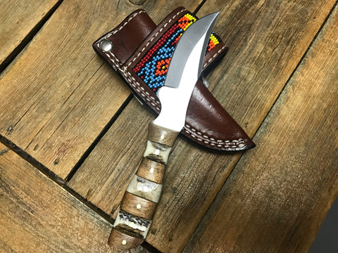 Knife with red and yellow beaded sheath