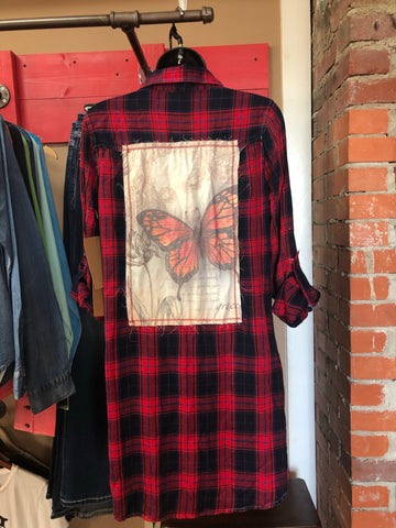 Red Plaid Button Top with Butterfly Patch