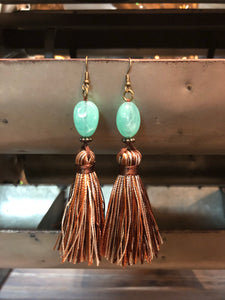 Teal bead Thread Earrings
