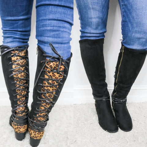 Annabel Black/Leopard Boots