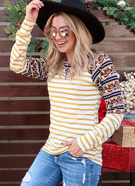 Long Sleeve Yellow Striped Top