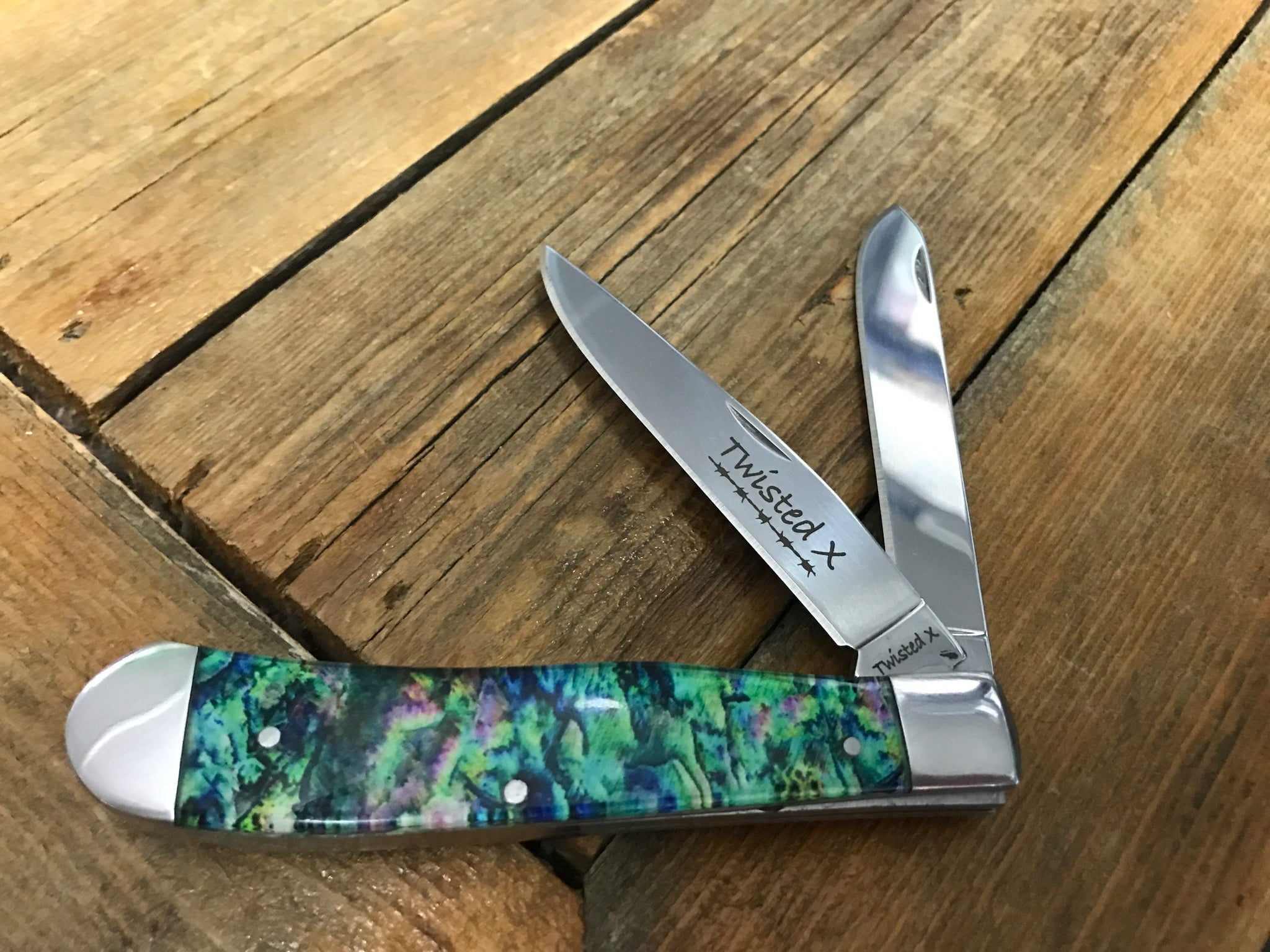 Green Tye Dyed Pocket Knife