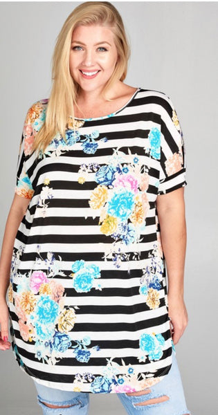 Stripped Floral Plus Size Tunic