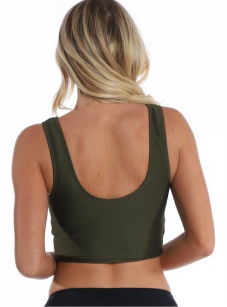 Olive Green Swim Top