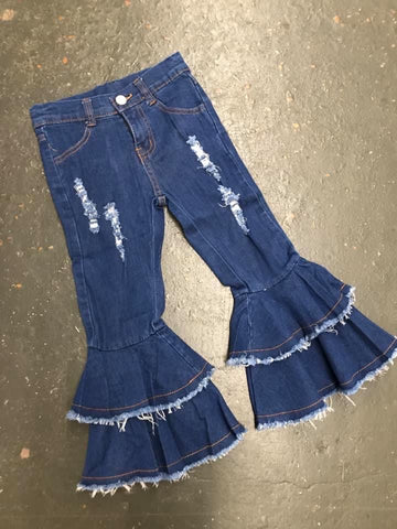 Denim Double Ruffle Pant