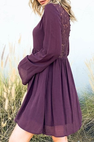 Midnight Dress with Bell Sleeve