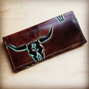 Turquoise Embossed Leather Wallet