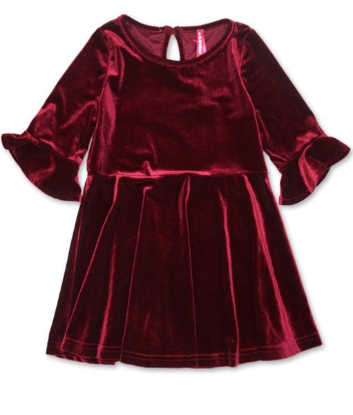 Toddler's velvet 3/4 sleeves dress