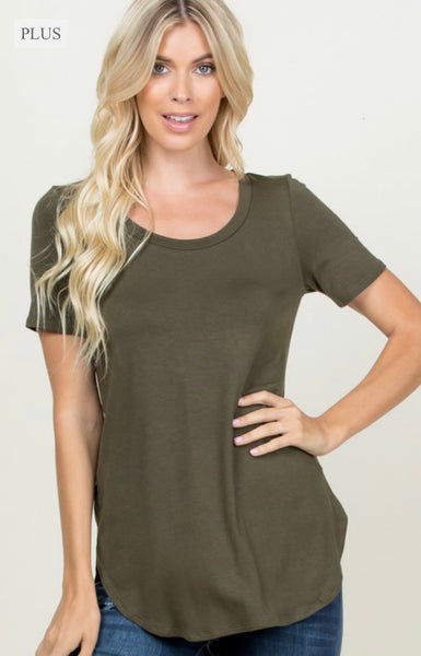 Olive Scoop neck T shirt