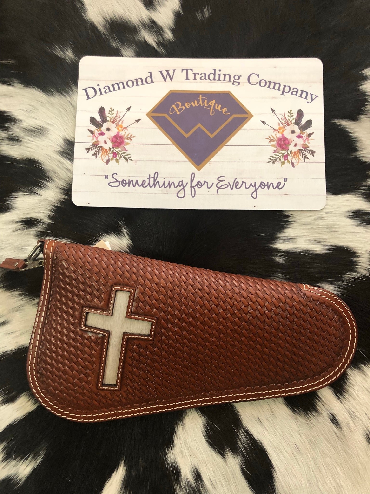 Leather Gun Case Inlay Hair Cross Chestnut