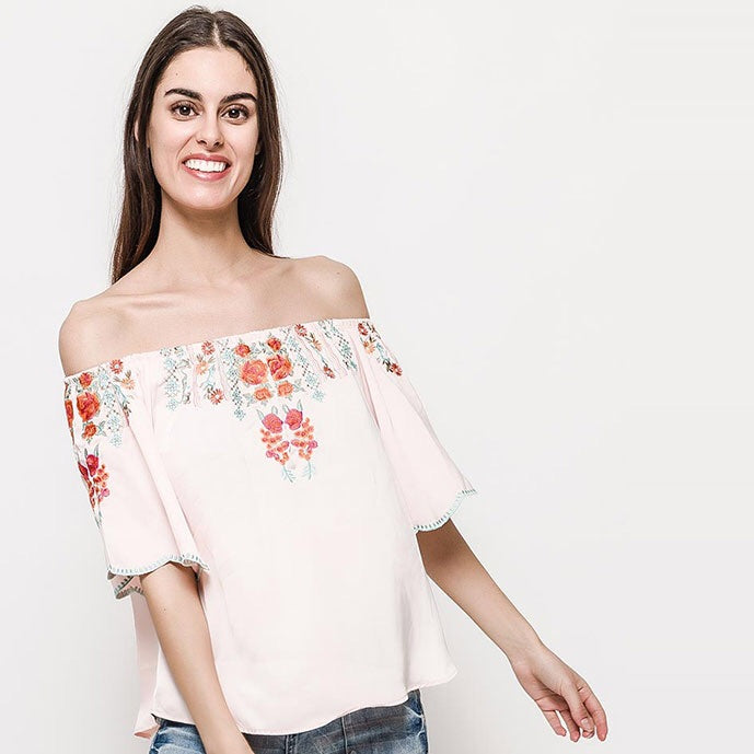 Pink Flamingo off the shoulder top