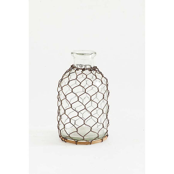 Small Glass Bottle with Mesh