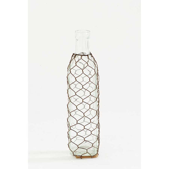 Tall Glass Bottle with Mesh