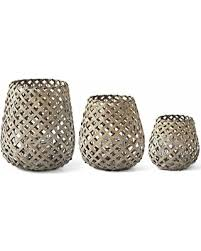 Woven Wood Table Lanterns w/Glass Hurricane - Medium
