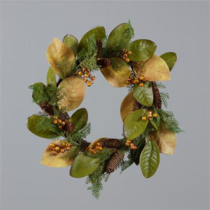 Wreath - Magnolia Leaves, Fall Berries, Cedar Branches and Cones